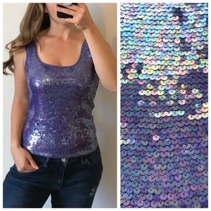 CACHE Purple Full Sequin Tank Top Purple Medium